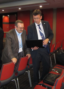John Thompson the WG1 member, B. Radko and the President of ICNDT Mikel Farley