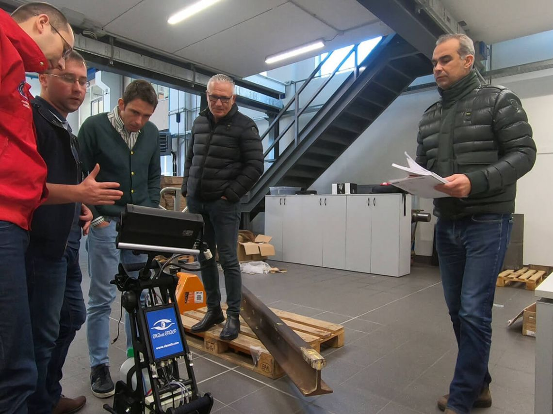 Practical part of presentation of the ultrasonic rail trolley UDS2-77 held for the employees of the Italian company IMG Ultrasuoni Srl