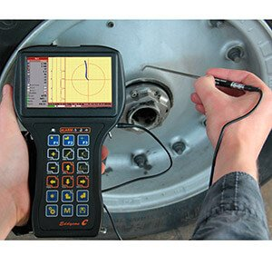 Convenient nondestructive testing of aircraft wheel with the portable eddy current flaw detector Eddycon C