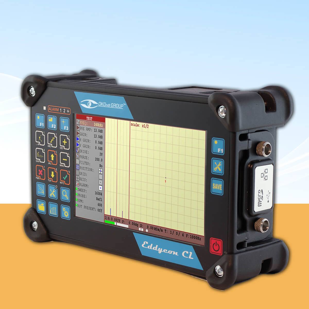 Portable eddy current flaw detector with a large screen Eddycon CL, side view