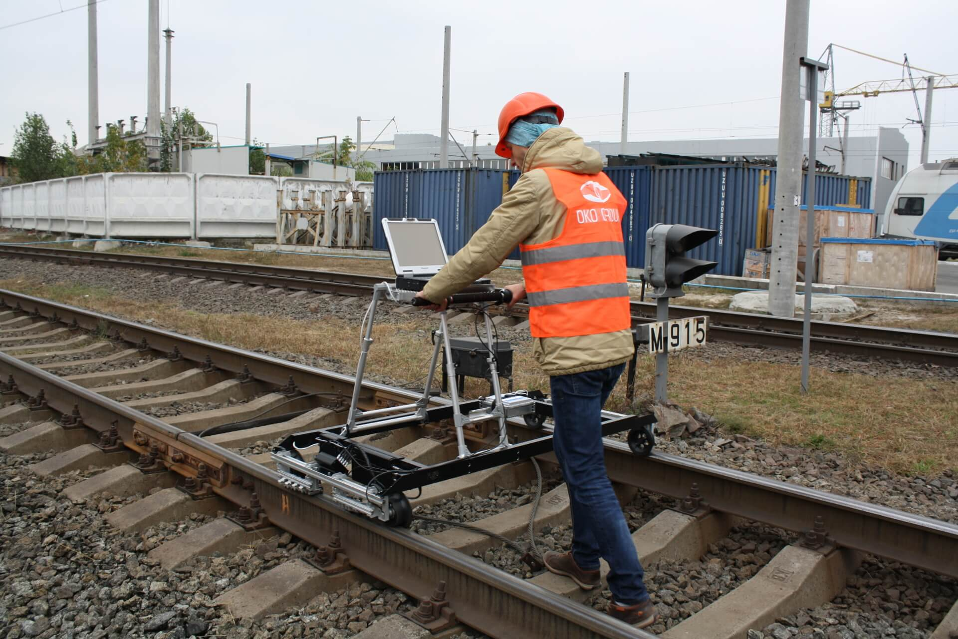 Inspection of the track segment with ETS2-77 flaw detector for gauge corner checking