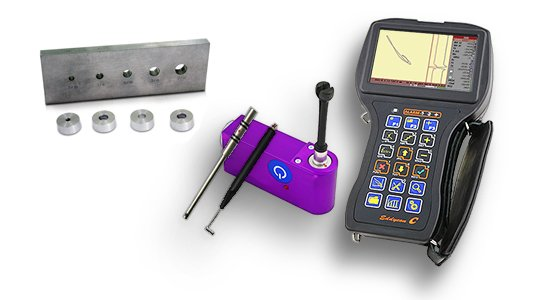 Eddy current flaw detector, probes and calibration blocks