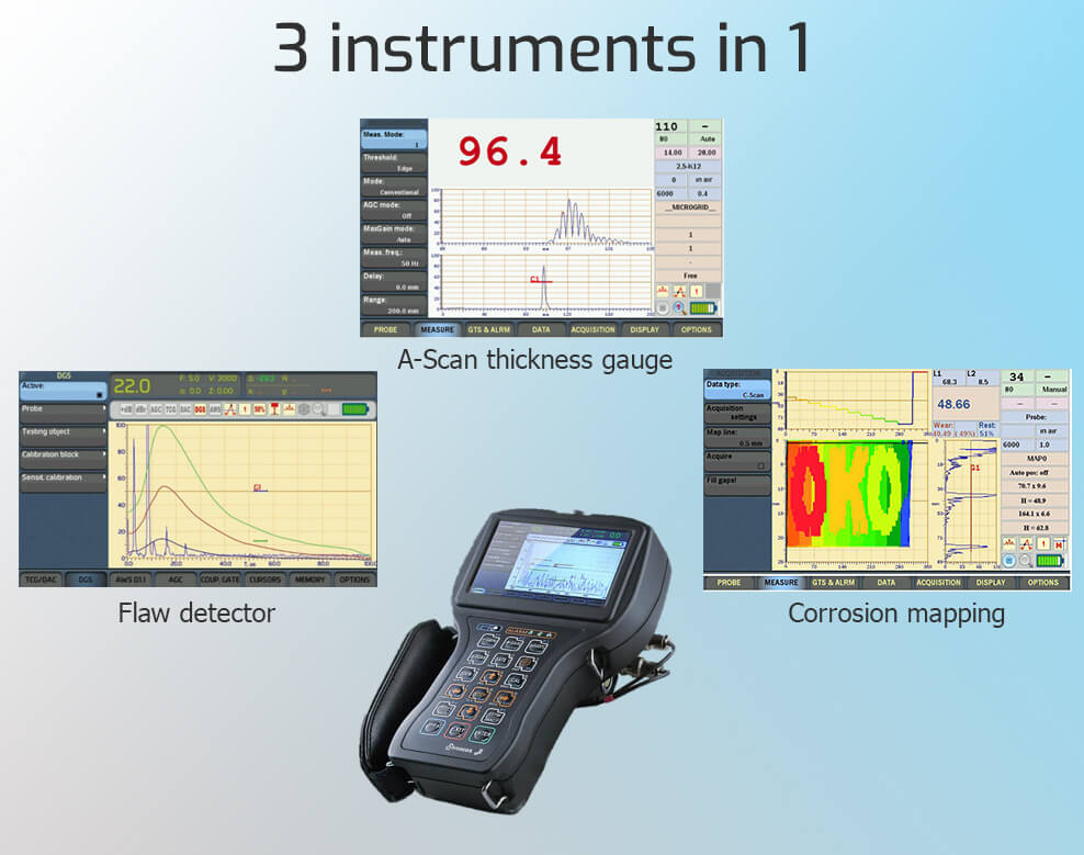 Three key features of portable ultrasonic flaw detector Sonocon B
