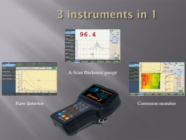 Main functions of the portable ultrasonic flaw detector Sonocon B, version «Thickness Gauge +»