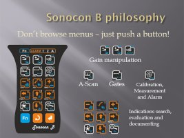 Buttons of the portable ultrasonic flaw detector Sonocon B, version «Thickness Gauge +»