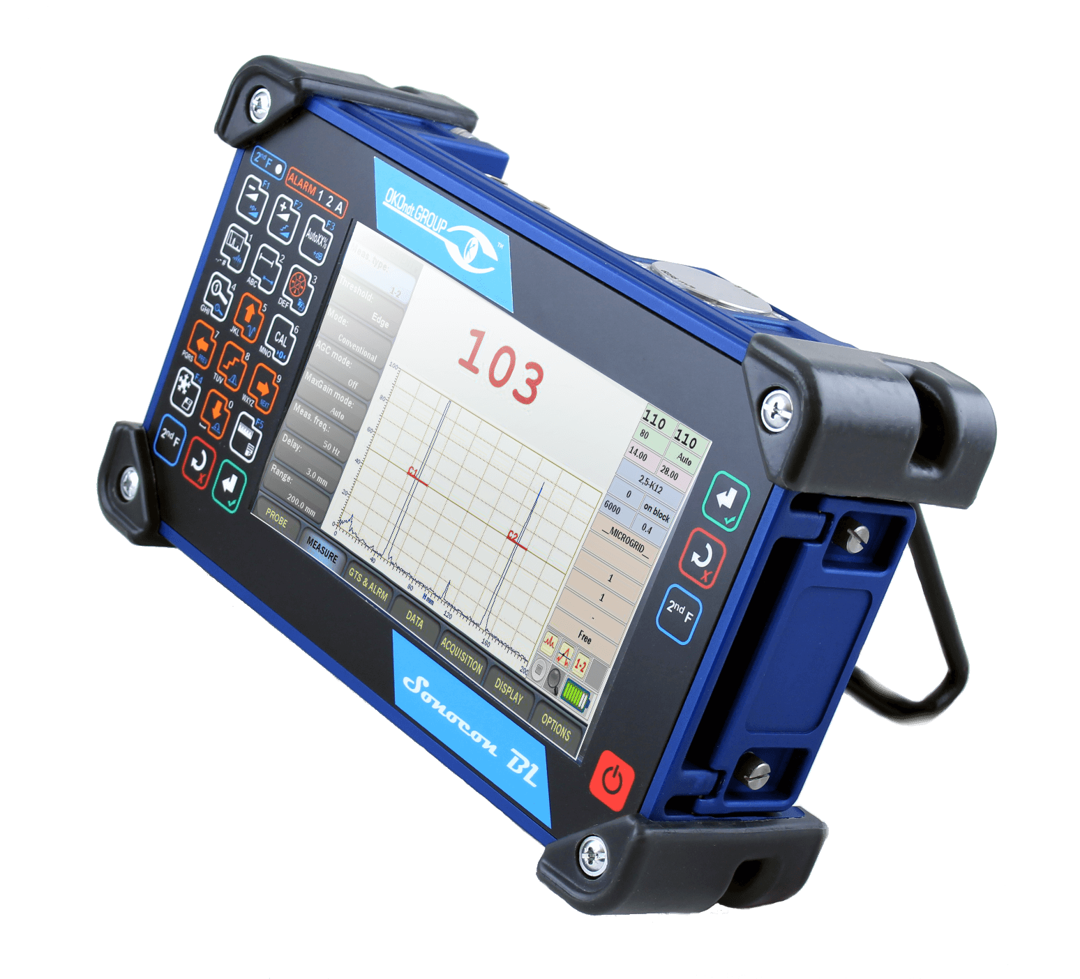 Portable ultrasonic flaw detector with a large screen Sonocon BL