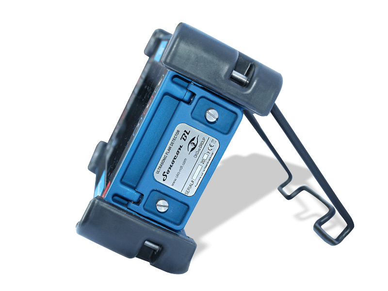 Portable ultrasonic flaw detector with a large high-resolution display Sonocon BL, on the support, side view