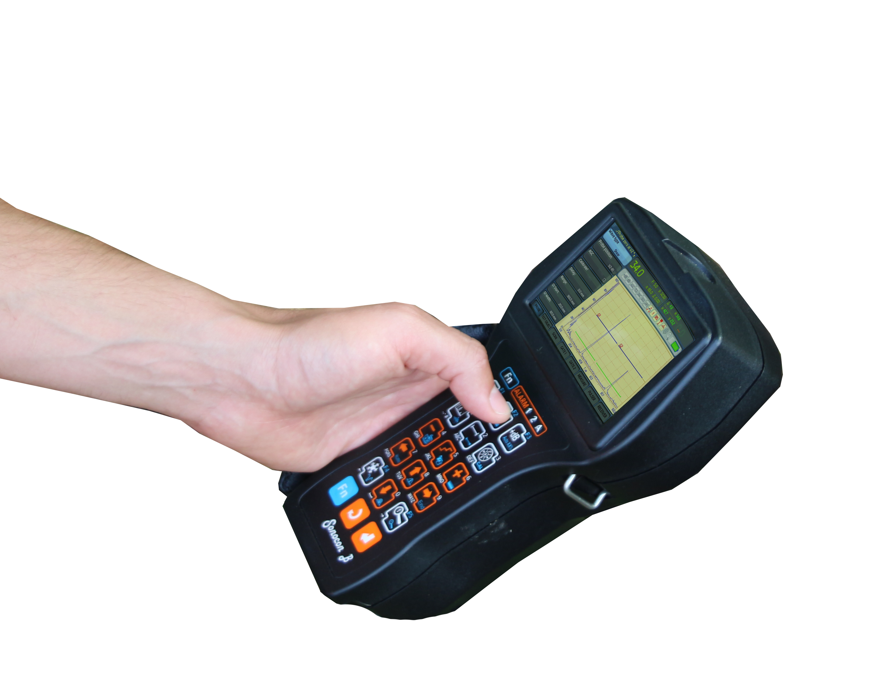 Portable UT flaw detector Sonocon B held in the hand